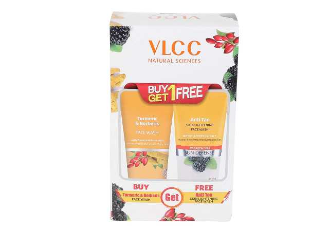 VLCC Vlcc Turmeric & Berberis Face Wash + Anti Tan Skin Lightening Face Wash (Buy 1 Get 1) (Each 150ml), 150 ml with Buy 1 Get 1 Free