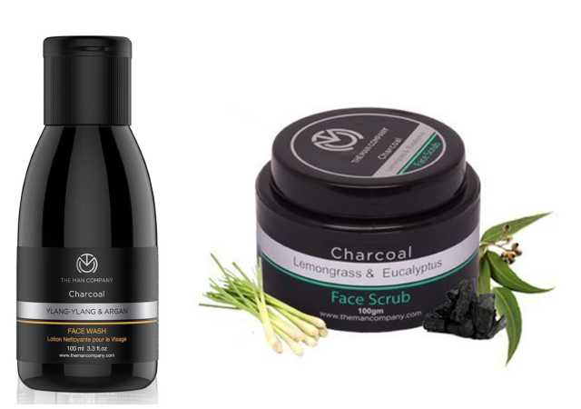 The Man Company Activated Charcoal Face wash (Ylang Ylang & Argan Essential Oils) to Flight Pollution & Ace, Oil Control - 100ml… And The Man Company Activated Charcoal Face Scrub For Men, 100g