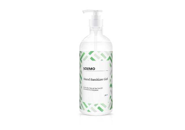 Amazon Brand - Solimo Hand Sanitizer Gel-75% v/v alcohol-with Aloe Vera & Tea Tree Oil, 500 ml
