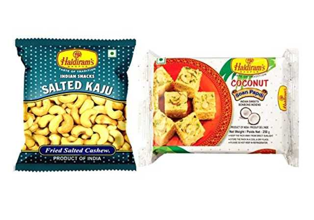 Haldiram's Nagpur Coconut Soan Papdi (Pack of 2 X 250 g) and Salted Kaju (Pack of 10 X 35 g)