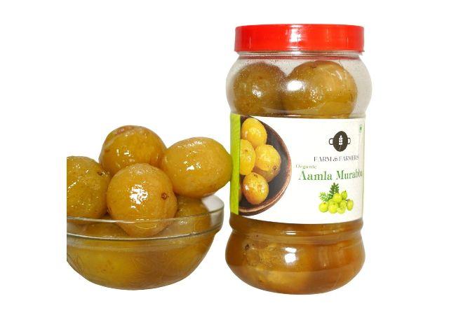 Farm and Farmers Homemade Organic Amla Murabba (Immunity Booster Pack) Ingredient:, Fenugreek, Clove, Elam, Crystals, Cardamom (Elichie), Palm -900 GMS