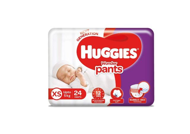 Huggies Wonder Pants Extra Small / New Born (XS / NB) Size Diaper Pants, 24 count, with Bubble Bed Technology for comfort