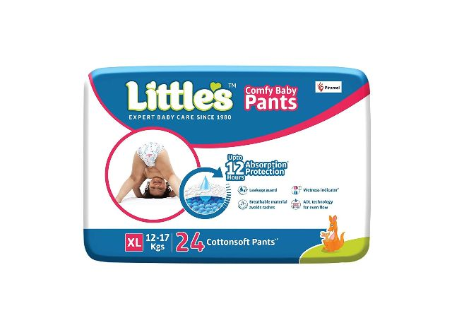 Little's Baby Pants Diapers with Wetness Indicator and 12 Hours Absorption, Extra Large (XL), 12-17 kg, 24 Coun
