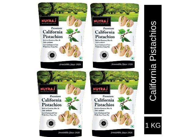 Nutraj California Roasted & Salted Pistachios 1 Kg (4 x 250g)