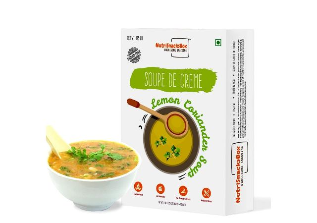 NutriSnacksBox Instant Lemon Coriander Soup Mix Powder Packet (15 GM x 7 Sachet)   Creamy Healthy Veg Soup   High Fibers & Protein
