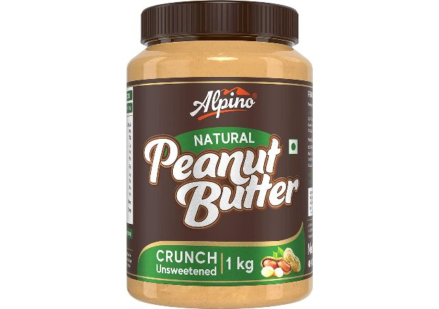 Alpino Natural Peanut Butter Crunch 1 KG | Unsweetened | Made with 100% Roasted Peanuts | 30% Protein | No Added Sugar | No Added Salt | No Hydrogenated Oils | Non GMO | Gluten Free | Vegan
