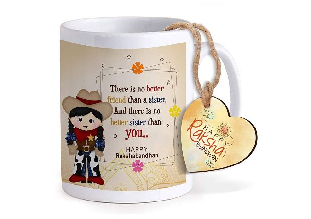 TIED RIBBONS Rakhi Gifts for Sister Raksha Bandhan Return Gift Printed Coffee Mug with Happy Raksha Bandhan Printed Wooden Tag