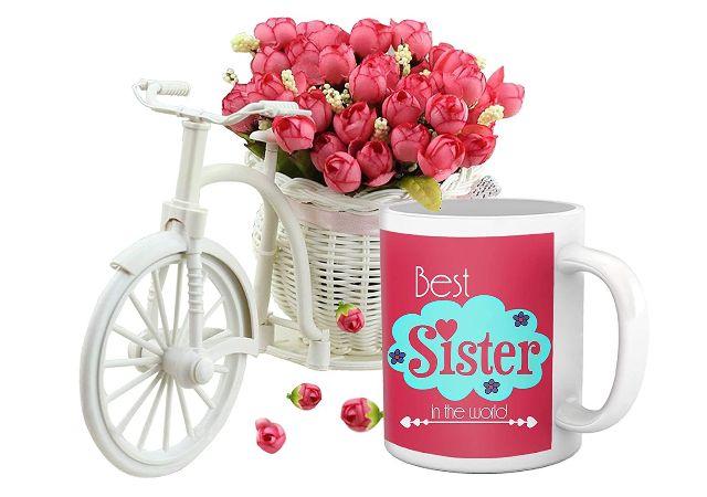 TIED RIBBONS Rakhi Gift for Sister Raksha Bandhan Return Gifts for Sister Printed Coffee Mug and Cycle Vase with Flower