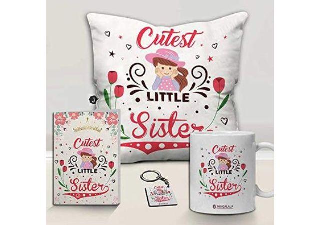 Jhingalala Cutest Little Sister Printed Cushion Mug Key Chain Greeting Card Combo Gift Pack   Rakshabandhan Gifts for Sister   Gift for Sister on her Birthday Special   Birthday Gift for Sister