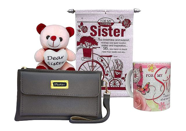 Saugat Traders Gift for Sister - Soft Toy, Ladies Wallet, Scroll Card & Coffee Mug - Gift for Sister On Rakshabandhan