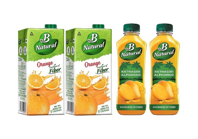 B Natural Orange Juice 1L, (Pack of 2) + B Natural Ratnagiri Alphonso 750ml (Pack of 2)