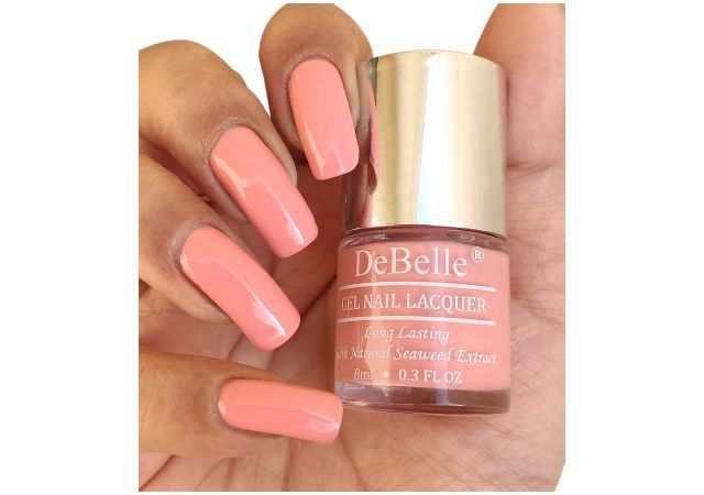 DeBelle Gel Nail Polish, Glossy Finish, Pastel color, Apricot Dew (Pale Pink), 8 ml