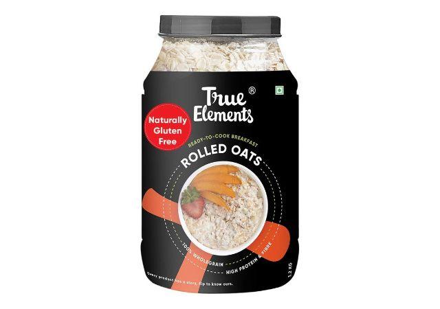 True Elements Rolled Oats 1.2 kg - Gluten Free Oats, Breakfast Cereal, Diet Food for Weight Loss