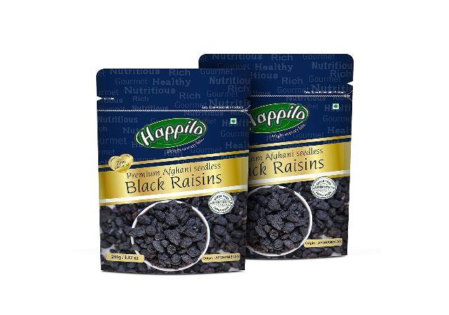 Happilo Premium Afghani Seedless Black Raisins, 250g (Pack of 2)