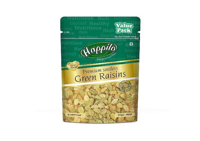 Happilo Premium Seedless Green Raisins Value Pack Pouch, 500 g
