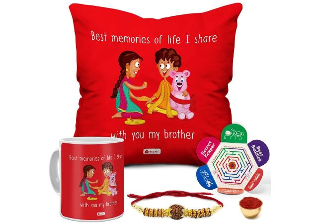 """Indigifts Rakhi Gift for Brother Quote Printed Cushion 12""""x12"""" with Filler Mug 330 ml-Raksha Bandhan Gift, Cushion-Mug Combo, Best Rakhi Gift for Brother, Rakhi for Brother with Gift"""