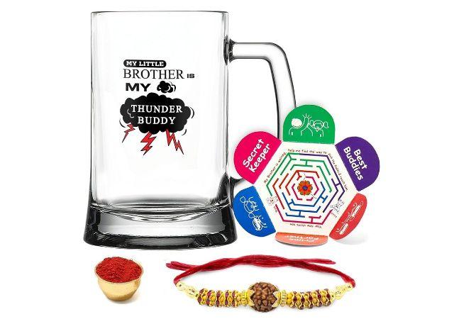 Indigifts Printed Beer Mug, Crystal Rakhi with Roli, Chawal & Greeting Card Combo Pack for Brother (370ml)
