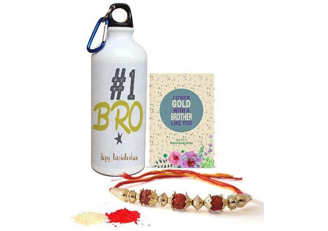 TIED RIBBONS Rakshabandhan Gifts for Brother (Designer Rakhi, Printed Sipper, Rakshabandhan Special Card, Roli Chawal)