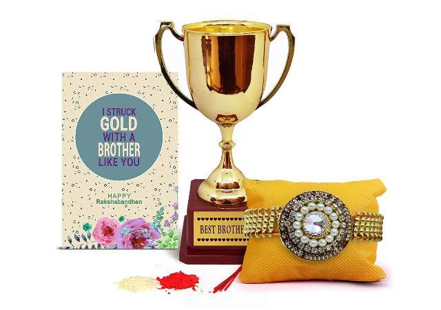 TIED RIBBONS Rakhi Gift Hamper for Brother (Designer Rakhi, Golden Trophy, Rakshabandhan Special Card, Roli Chawal)