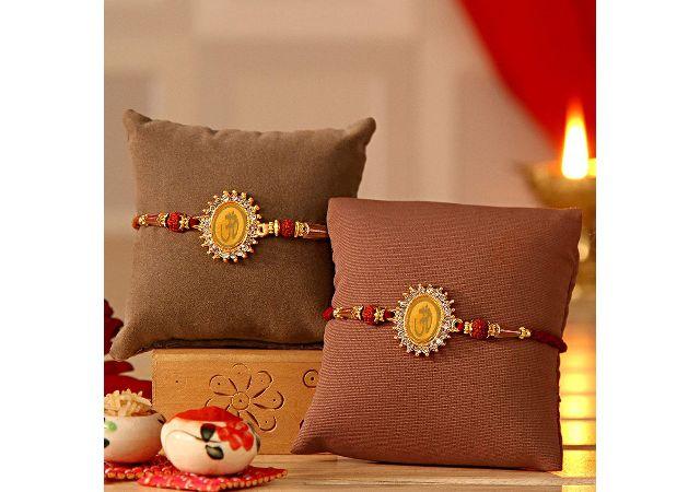Tied Ribbons Set Of 2 Gold Bracelet Rakhi Gift For Brother (Men)
