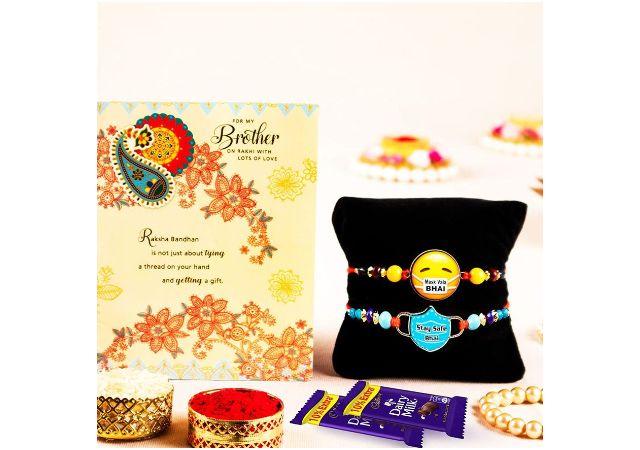 ARCHIES Rakhi For Brother Special Rakshabandhan Combo Set of 2 Cute Mask Wala Bhaiya/ Bro/ Bhai Rakhis with Greeting Card, 2 Dairy Milk Chocolates 24 gms, Roli Chawal 10 gms Pack (Gift pack of 6)
