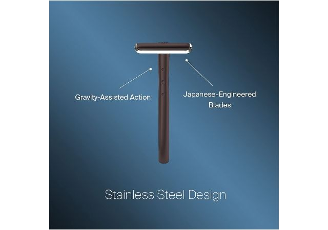 Bombay Shaving Company Precision Safety Razor + 5 Platinum Coated Feather Blades Combo for Men   Anti Slip Grip   Eliminates Nicks & Cuts, Gun Metal, 220g