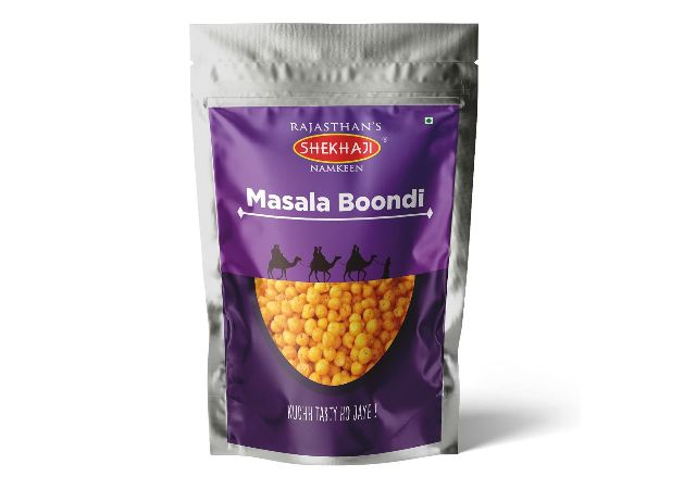 Shekhaji Masala Boondi Namkeen   Rajasthani Masala Boondi 800 Grams (Pack of 4 Each 200 gm )