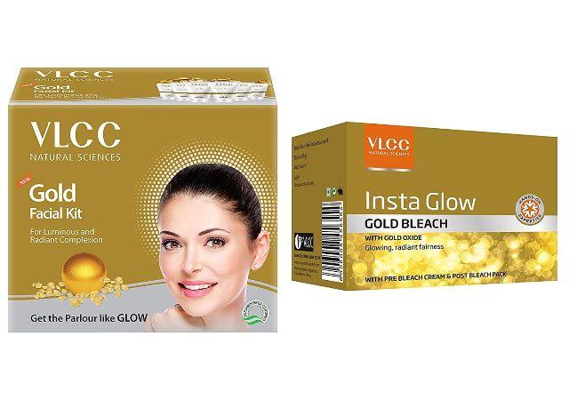 VLCC Gold Facial Kit, 60g And VLCC Natural Sciences Insta Glow Gold Bleach, 402g